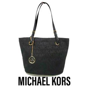 Michael Kors Black Canvas Signature Tote Bag